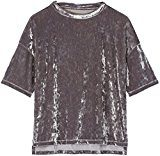 FIND T-shirt in Velour Donna , Argento (Silver), 40 (Taglia Produttore: X-Small)