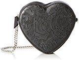 kaviar gaucheLove Heart Bag - Borsa a tracolla Donna , nero (Nero (Black/Silver)), 6x16x17 cm (B x H x T)