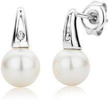 Miore -Orecchini in oro bianco 9 carati con perle e diamanti con caratura complessiva di 0.01ct