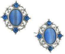 1928 Jewelry-Orecchini con cristallo color zaffiro, colore: argento e occhio di gatto-Orecchini a bottone, colore: blu