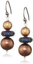 Katerina Psoma Donna  925  argento Rotonda  perla cinesa da coltivazione marrone Perla Zirconia cubica
