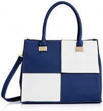 SwankyswansOlivia Reverse Check - Borsa Donna , Blu (Bleu - Bleu (Bleu)),