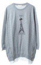 Felpa lunga con stampa Torre Eiffel