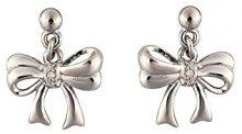 Ivy Gems-Pendente in argento Sterling 925, con diamante, lunghezza orecchini pendenti a forma di fiocco