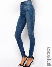 ASOS TALL - Ridley - Jeans ultra skinny a vita alta a lavaggio stone wash medio
