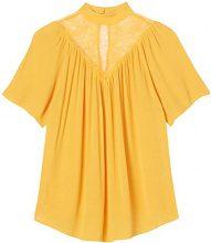 FIND Blusa a Maniche Corte Donna , Giallo (Mango), 50 (Taglia Produttore: XX-Large)