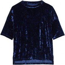 FIND T-shirt in Velour Donna , Blu (Navy), 50 (Taglia Produttore: XX-Large)