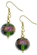 Amanti Venezia - Orecchini a pendente placcati oro, con pendente in vetro di murano, design Fiorato, colore verde