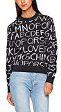 Moschino sweatshirt_blackboard Allover, Felpa Donna, Schwarz (Pr.Blackboard 0002), 40