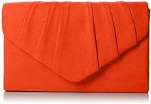 Swankyswans Womens Iggy scamosciata velluto Envelope party Prom pochette frizione, arancione (Orange (Scarlet)), Taglia unica