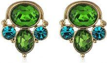 1928 Jewelry-Orecchini color oro, con zirconi blu e smeraldi-Orecchini con cristalli a grappolo