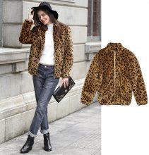 Giacca in pelliccia sintetica leopardata