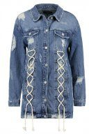 Missguided LONGLINE LACE UP DETAIL TRUCKER  Giacca di jeans blue