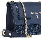 Borsa Mini Pochette in pelle e glitter con tracolla 1V1348 Dark Blue Blu