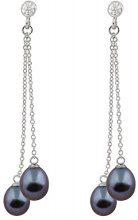 Bella Pearls Donna  925  argento Rotonda Goccia perla cinesa da coltivazione nero Perla Zirconia cubica