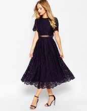 ASOS - Prom dress longuette in pizzo con top corto