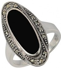 Esse Marcasite, anello in argento Sterling, con onice e marcasite, in Art Deco, 3,7 g, colore: nero, Black, 10 7/8