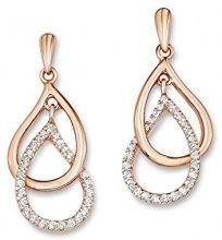 Amor - orecchini per donna, goccia, argento 925 placcato oro con zirconi bianchi - 510189