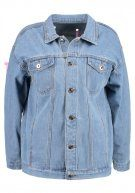 Liquor N Poker WITH EYELET AND LACE UP RIBBON Giacca di jeans lightblue denim