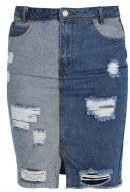 Missguided HIGH RISE RIPPED PATCHWORK  Gonna a tubino stonewash