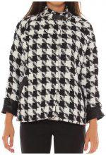 Cappotto Freesketch  Cappotto in misto lana lavorazione a maglia fantasia pied de pou
