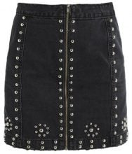 Missguided STUDDED ZIP FRONT  Gonna di jeans black