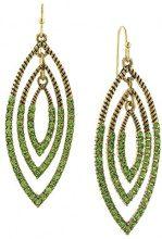 1928 Jewelry - Orecchini a goccia dorati con peridoto, colore verde