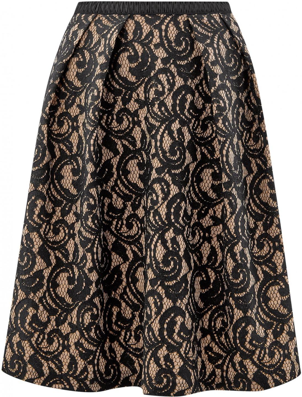 oodji Collection Donna Gonna in Pizzo con Cintura Elastica Decorativa