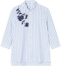 FIND Blosson Embroidered  Camicia Donna, Blu (Blue/white), 46 (Taglia Produttore: Large)