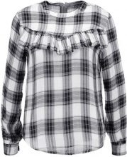 Glamorous Tall CHECKED RUFFLE LONG SLEEVE Top white navy check