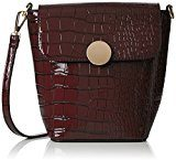 SwankySwansTrudi Gold Patent Leather Shoulder Bag Burgundy - Borsa a tracolla donna , rosso (Red (Burgundy)), Taglia unica