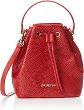 Love Moschino Borsa Embossed Pu Rosso - Borse a secchiello Donna, Rot (Red), 24x26x14 cm (B x H T)