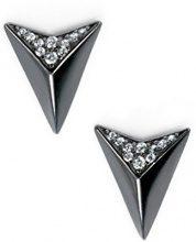 Elements argento Sterling placcato argento nero triangolo orecchini con zirconia cubica nera, altezza 1.2cm
