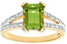 Naava Anello da Donna in Oro Giallo 9K con Diamante e Peridoto 1.7ct, Misura 7