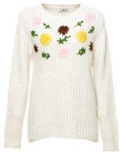 Pullover a maglia con ricami floreali