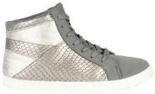 Sneakers alte in similpelle pitonata metallizzata