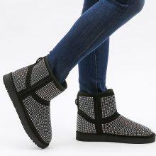 Stivali imbottiti con strass a contrasto