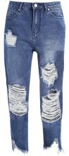 Missguided Petite PETITE FRAYED DISTRESSED DETAIL Jeans baggy vintage blue