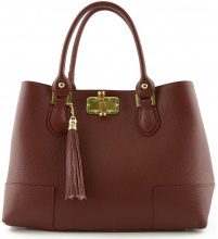 Borsette Dream Leather Bags Made In Italy  Borsa Per Donna A Mano Con Accessorio In Pelle Colore Rosso Borg