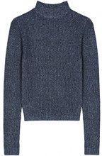 FIND Pullover a Coste con Collo Alto Donna, Blu (Blau), 42 (Taglia Produttore: Small)