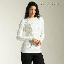 Pullover a maglia con motivo a treccia & rombi
