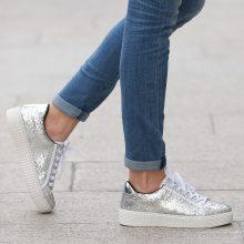 Sneakers glitter con plateau