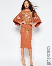 ASOS - Vestito midi a kimono con ricami