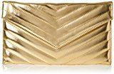 Swanky Swans Marla V Stitch Metallic Clutch Bag - Pochette da giorno Donna, Gold, 2.5x17.3x29.2 cm (W x H L)