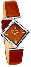 Pierre Lannier-106C694-Orologio in metallo cromato, analogico al quarzo, cinturino in pelle e quadrante, colore: cioccolato