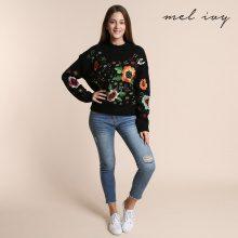 Pullover a maglia con ricami floreali colorati