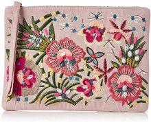 New Look Tropical Embroidory - Pochette da giorno Donna, Off-White (Oatmeal), 1x19x27 cm (W x H L)