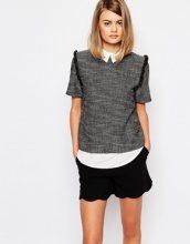 Sister Jane -Tarot - Top a camicia in tweed con doppio strato