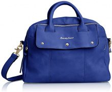 SwankySwansCarla Pu Leather Double Zip Smart - Borsa Tote donna , blu (Blue (Royal Blue)), Taglia unica
