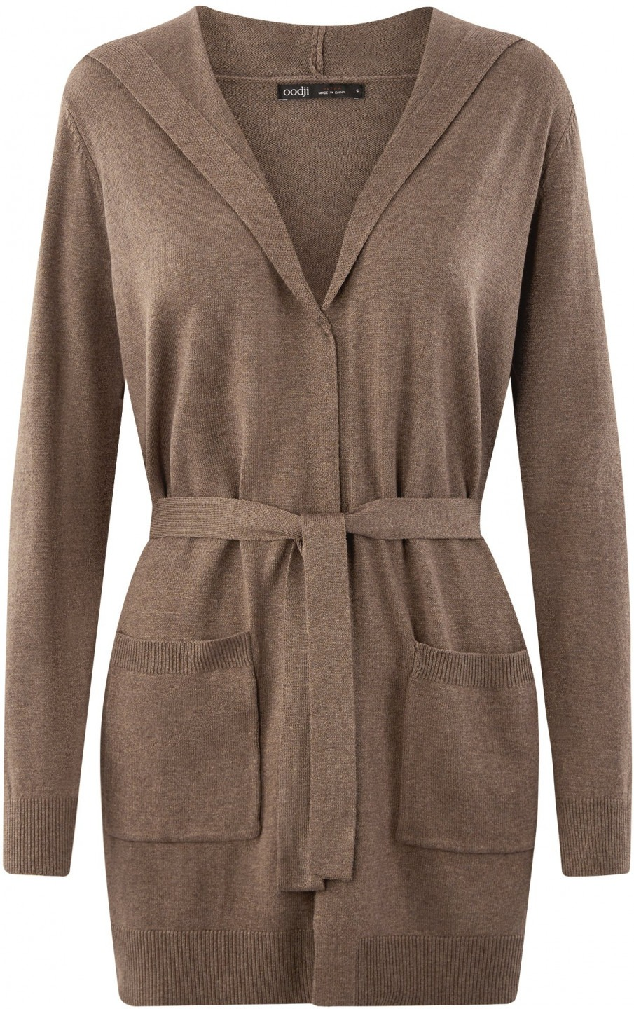oodji Ultra Donna Cardigan con Cintura e Tasche Applicate